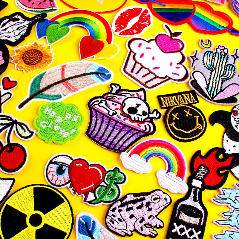 Cute Cartoon Patch Embroidered Patches For Clothing Rainbow Skull Punk Patch Iron On Patches On Clothes Stripe Applique Stickers Leather Bag