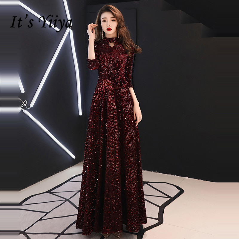 It's YiiYa Evening Dress Elegant Burgundy Sequins Evening Dresses Plus Size Three Quarter Sleeve Formal Vestidos De Fiesta LF081