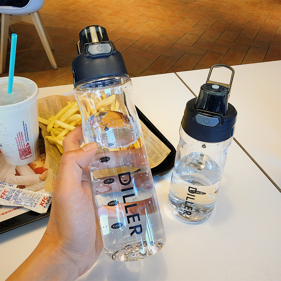 Hbfbf8bbf21124e5983353431c3752fe49 DILLER Water Bottle Popular Gray Men Outdoor Sport Travel My Drink Bottle Portable Leakproof Plastic Milk fruit gym Bottles