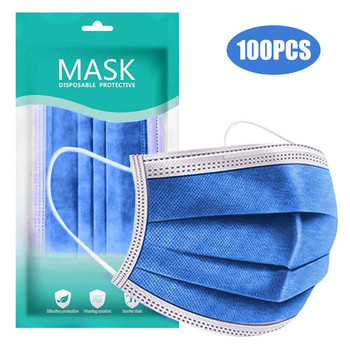 10/100pcs Dark Blue Disposable Face Mask Personal Windproof Breathable Facial Mask 3ply Ear Loop Thin Style Mouth Mask Masque image