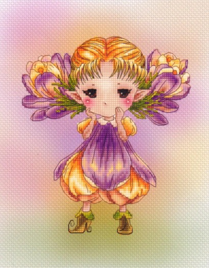 GG Gold Collection Counted Cross Stitch Kit Cross stitch RS cotton with cross stitch <font><b>Merejka</b></font> Embroidered Crocus elf image