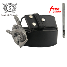 Rock Silver Music Belt Buckle Mens Head with Leather for Fans