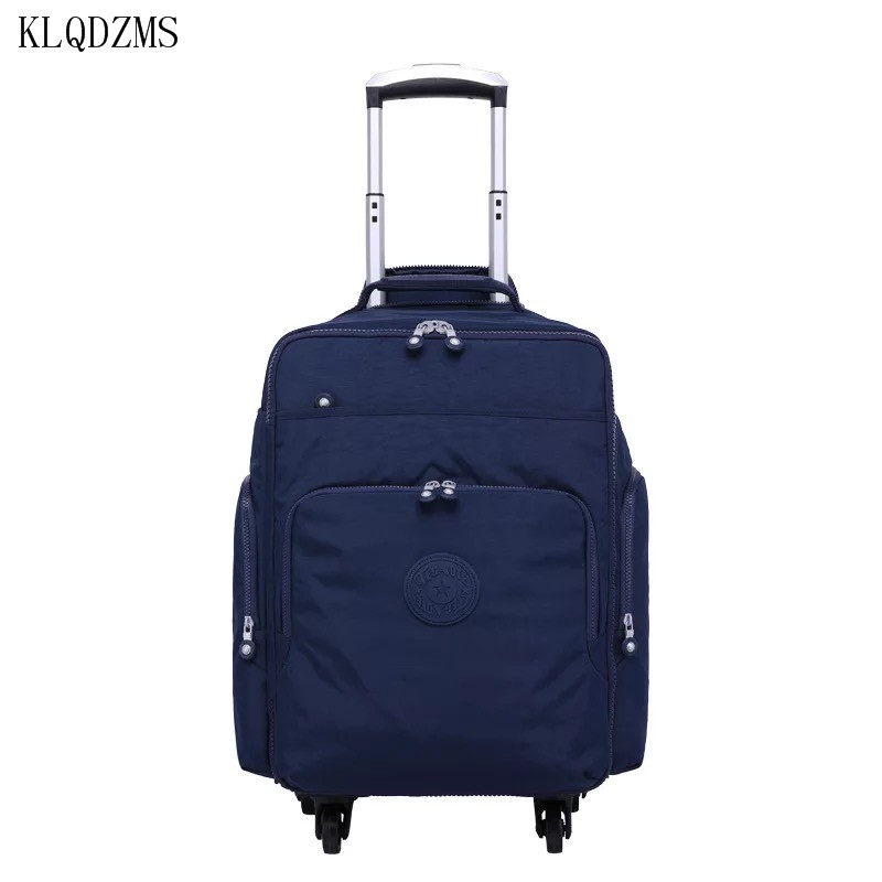 KLQDZMS 16inch Men Oxford Travel Trolley Luggage Bags Wheeled Women Rolling Luggage Business Carry On Suitcase