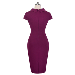 Image 2 - 素敵な 永遠にヴィンテージでエレガントな純粋な色ボタンオフィスワーク vestidos ビジネス正式なボディコン女性ペンシルドレス B574