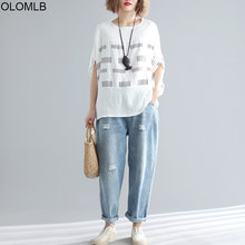 Plus Size Cotton Linen Women T Shirt 2019 Summer Plaid Print Batwing Tshirt Big Size Casual Loose Tee Shirt Female 4XL 5XL 6XL(China)