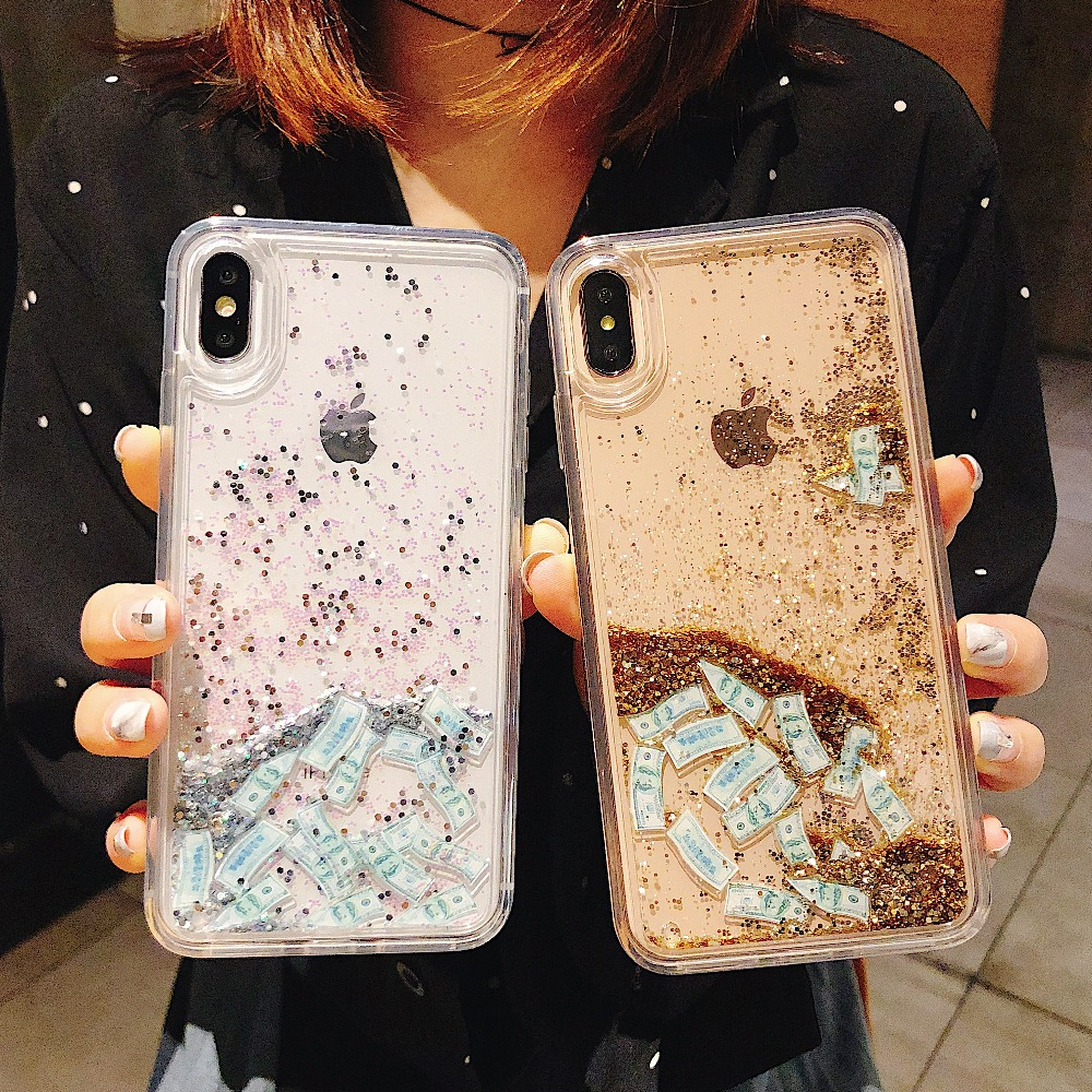 TPU + PC Shockproof <font><b>Phone</b></font> Case For iPhone 6 6S 7 8 Plus X XS MAX XR Cover USD <font><b>Dollars</b></font> Moving Glitter Quicksand Liquid Back Case image