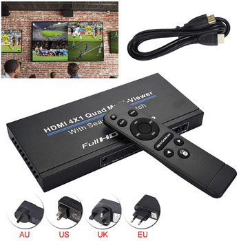 3D 1080P HDMI 4x1 Quad Multi-viewer HD Video Support 5 Modes Switcher Seamless Multiviewer Switch IR Screen Splitter Converter