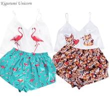 Cartoon Print Summer Sleepwear Satin Sexy Pyjamas Women Spaghetti Strap Femme V Neck Silk Pajama Loose Home Wear Suit 2020