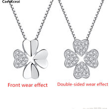 CaevKceai Four Leaf Clover Choker Necklace Jewelry Flower real 925 Silver Pendants Necklaces Chain Birthday Gift For Women(China)