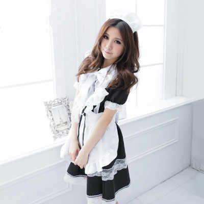 Костюм Харадзюку платье горничной лолиты Kawaii боди с длинными рукавами Черный обтягивающий винтажный белый японский милый девушка косплей платья Милое милое черно-белое платье для косплея в стиле Лолиты в готическом