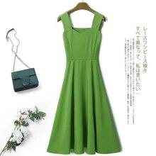 Vestido Vintage vestido Harakuku japonés verde Chic vestido negro vestido de verano sin mangas una línea de corte Slim de fiesta de Midi vestido Vestidos de Mujer Elegante