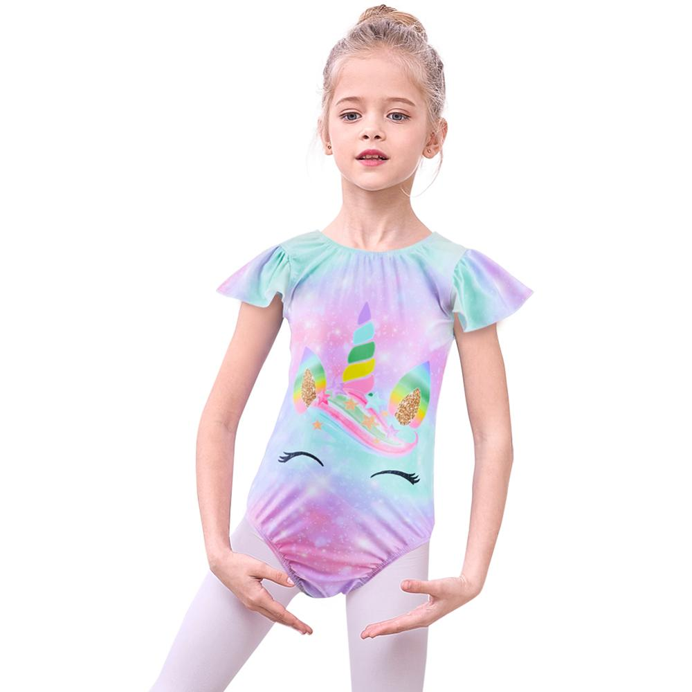 Rainbow Dancing Gymnastics Swimsuits Ballet Clothes For Toddler Girls Jumpsuit 3-8 Y Unicorn Dancewear Leotards Girl's Bodysuits