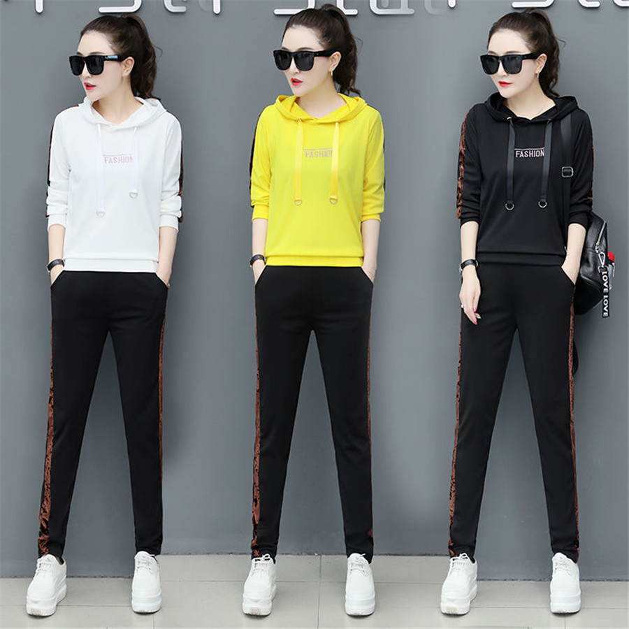 2020 Spring Two-piece Women's Long-sleeved Large Size Sweatshirt Pants Elastic Sportswear Casual Woman Suit CY231