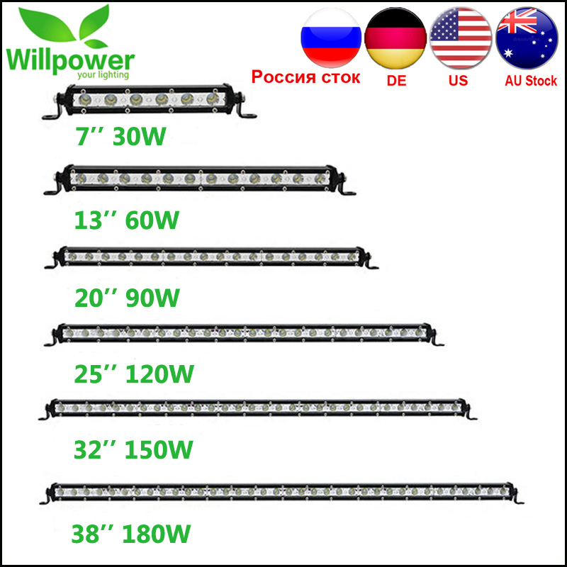 Single Row Straight Slim LED Light Bar 7