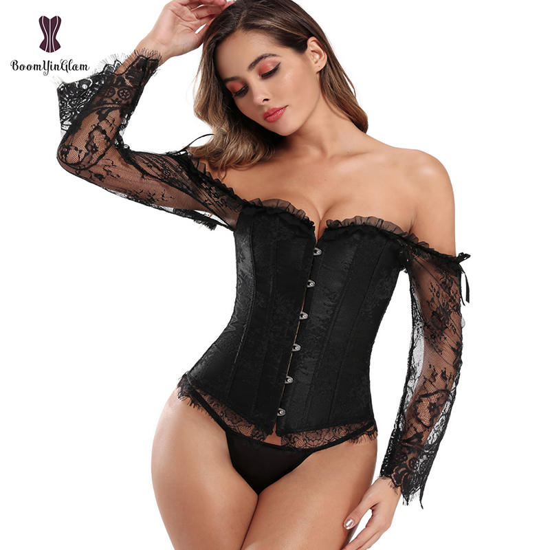 Long Floral Sleeves Women's Sexy Gothic Victorian Corset Vintage Lace Up Bustier Off Shoulder Corsets Overbust Top