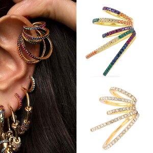 Itenice Multi-turn Rainbow Ear Cuff Bohemia CZ Wide Stackable Earcuffs Crystal Ear Climber Clips on Earrings For Women Wedding(China)