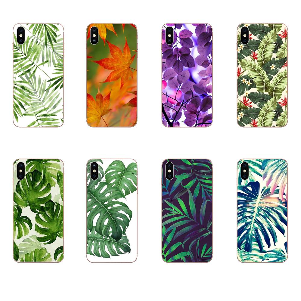 High Quality Phone Accessories Case For Apple iPhone 4 4S 5 5C 5S SE 6 6S 7 8 Plus X XS Max XR Tropical Leaf Wallpaper Edge image