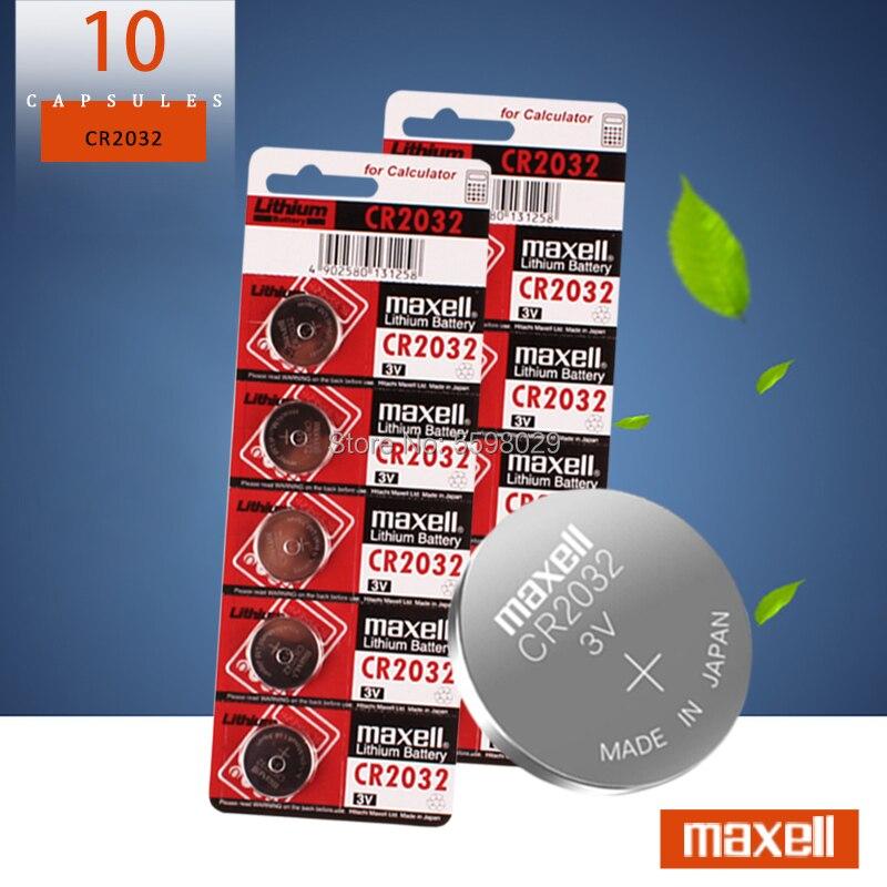 10 pièces d'origine cr 2032 batterie neuve pour maxell cr2032 3v pile bouton piles pour montre ordinateur jouet