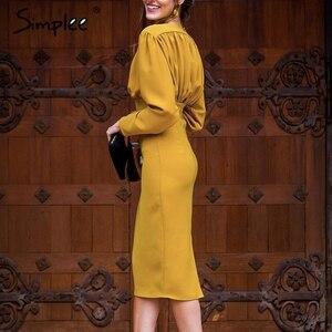 Image 2 - Simpleeエレガントなvネックボディコン秋のドレスの女性バットウィングスリーブオフィスレディパーティードレスハイウエストスリム女性のレトロなドレス