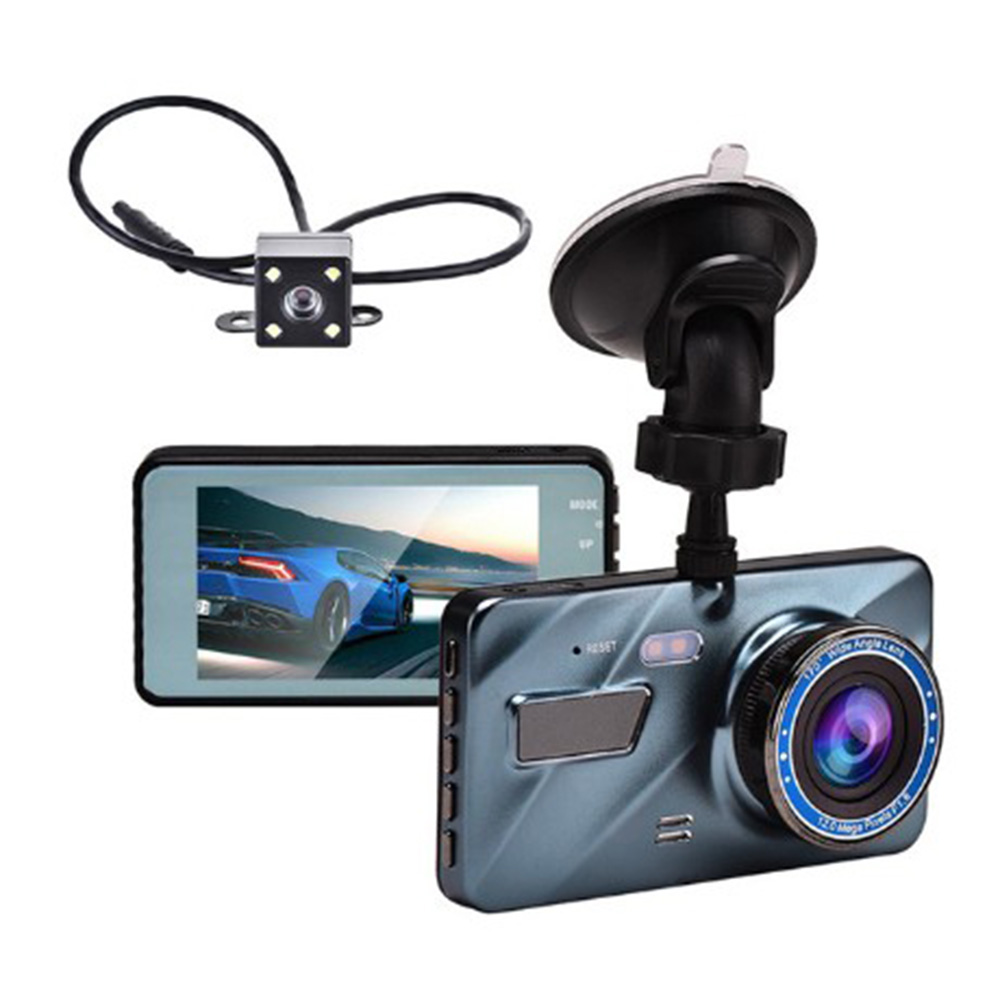 J16 Car HD 1080P DVR Driving Recorder Rear View Dual Lens Camera Dash Cam Blue New Charger 200mA Blue