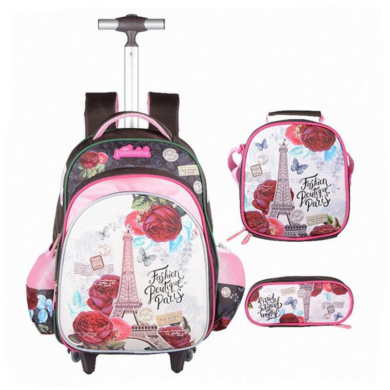 3 uds. Mochila escolar para niños mochilas para ordenador portátil para niñas con ruedas mochilas para niños equipaje de gran capacidad mochilas de escuela para niñas