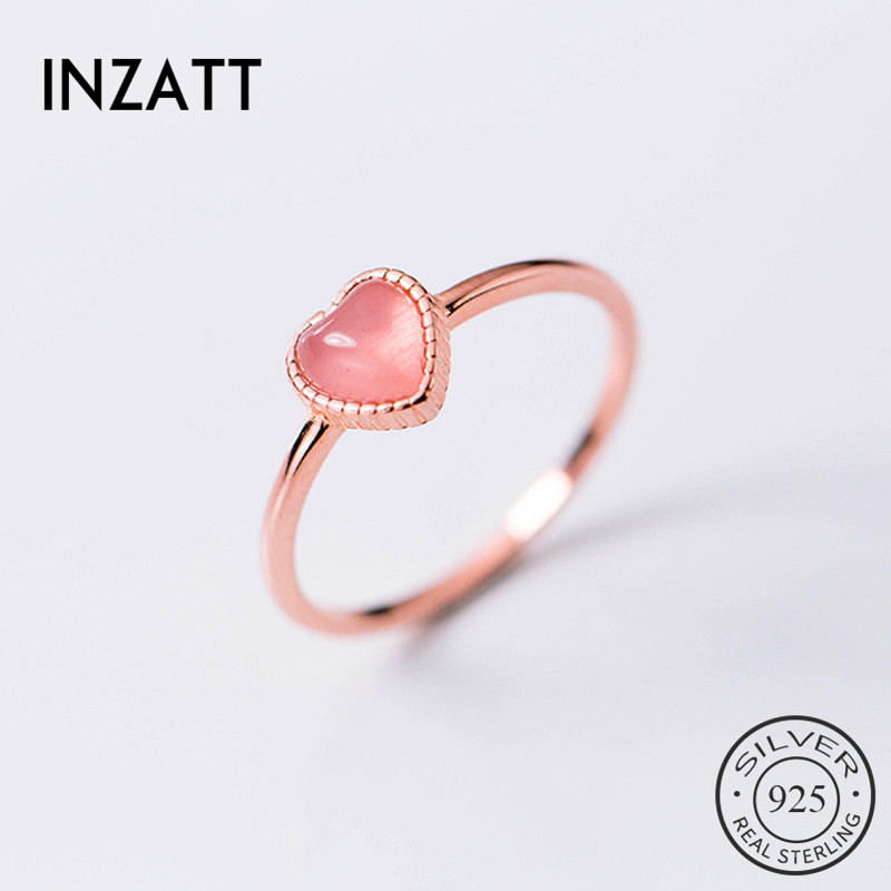 INZATT Real 925 Sterling Silver Pink Stone Heart Ring For Women Party Cute Fine Jewelry Minimalist Accessories 2019 Gift