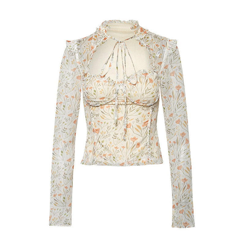 Casual Print Women Shirts O Neck Long Sleeve Patchwork Ruffles Hit Color Lace Up Bow Hollow Out Blouses Female Tide 6
