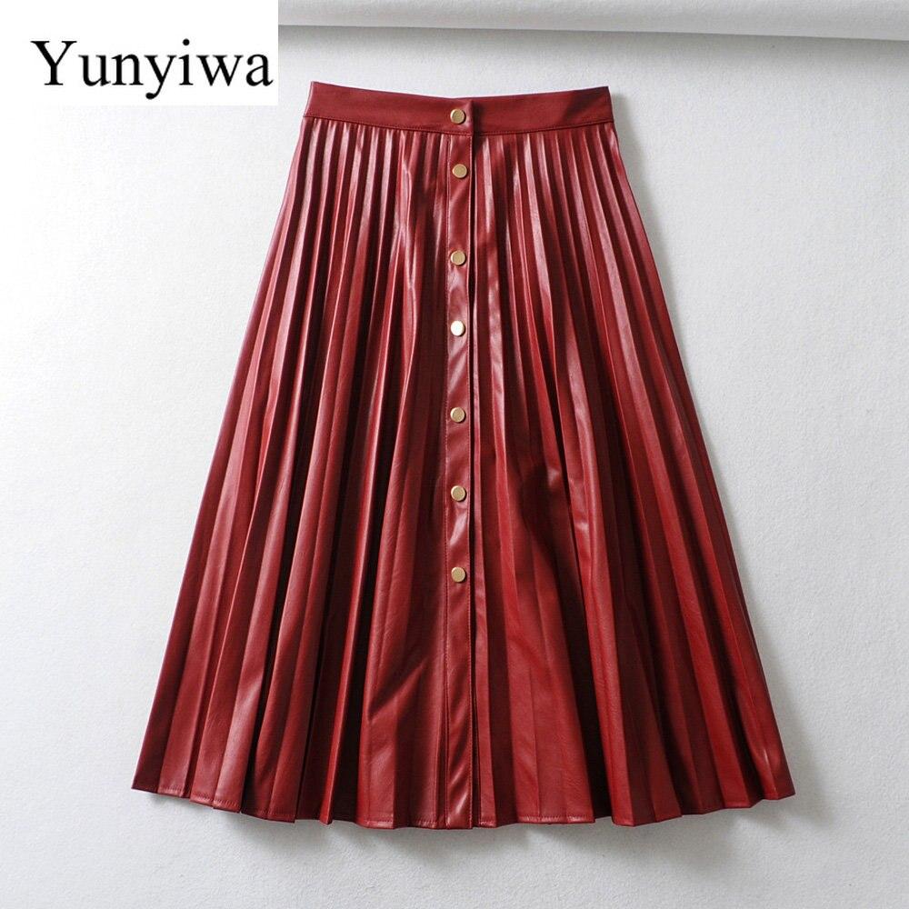 New Women Elegant Solid Single Breasted PU Leather Pleated Midi Skirt Faldas Mujer Ladies Vestidos Casual Brand Skirts
