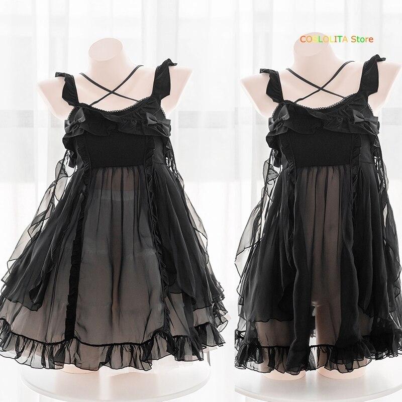 Cute Suspender Dress Homewear Sexy Black Sleepwear Teen Girls Student Chiffon Micro-translucent Short Dress Nightdress Pajamas
