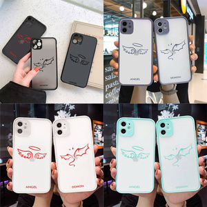 Image 1 - Friends Demon Angel Wing Couple BFF Cartoon Phone Case For iphone 12 11 7 8 plus mini x xs xr pro max matte transparent cover