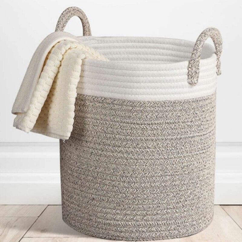 Cotton Rope Laundry Hamper Clothing Storage Basket Toy Debris Storage Basket Bedroom Collapsible Organizer Large Laundry Bucket