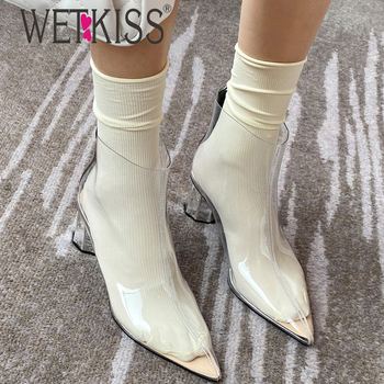 WETKISS Pointed PVC Boots Colorful Socks 5 cm Heels Summer Boots TPU Women Boots Crystal Decoration Shoes