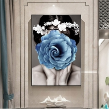 цена на Nordic Style Beautiful Girl Face Covered By Flower Canvas Paintings Modern Posters and Print for Living Room Decor No Frame