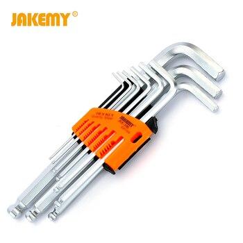 Juego de llaves JAKEMY 9 uds, llave hexagonal de cromo-vanadio, llave hexagonal métrica Allen, juego de herramientas mecánicas Repari