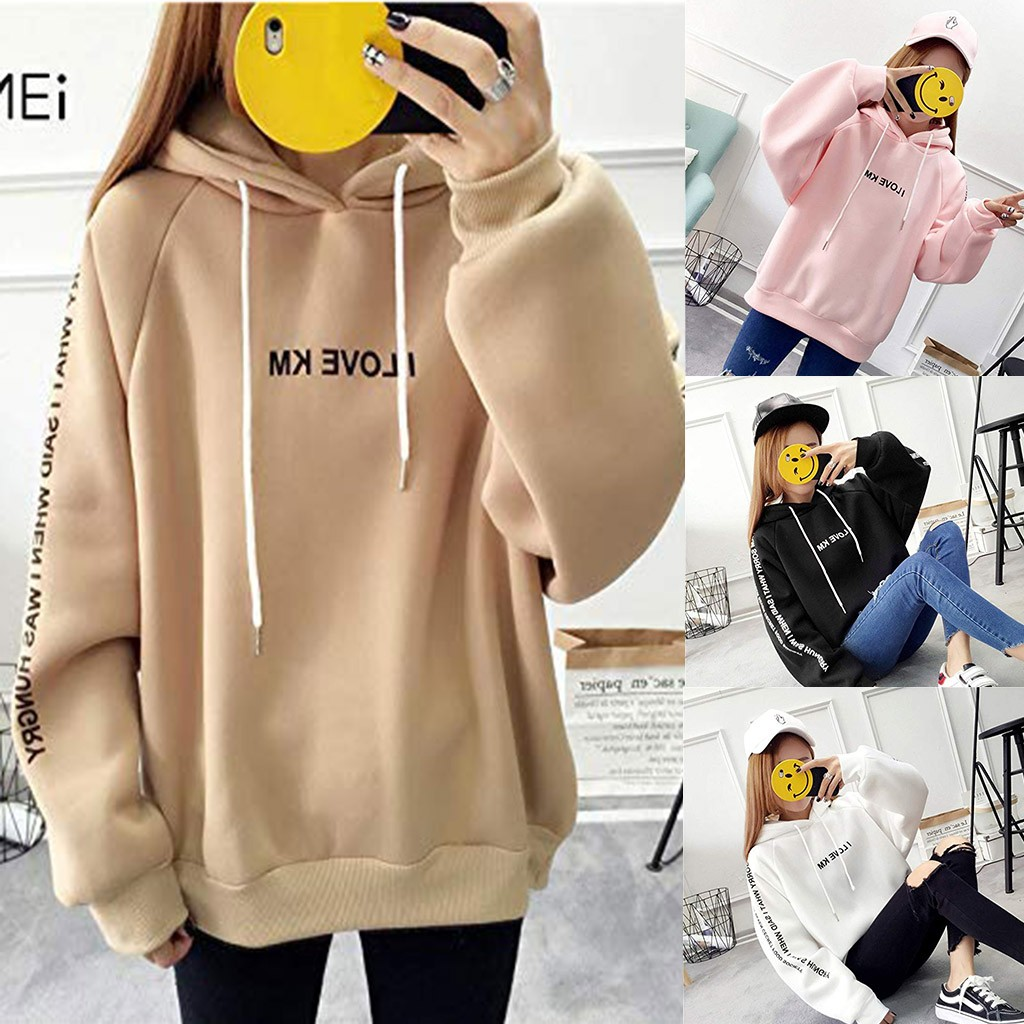 hoodie sweatshirt Women Casual Full Sleeve Letter Print Hooded Pullover Loose Thickened sweatshirts moletom