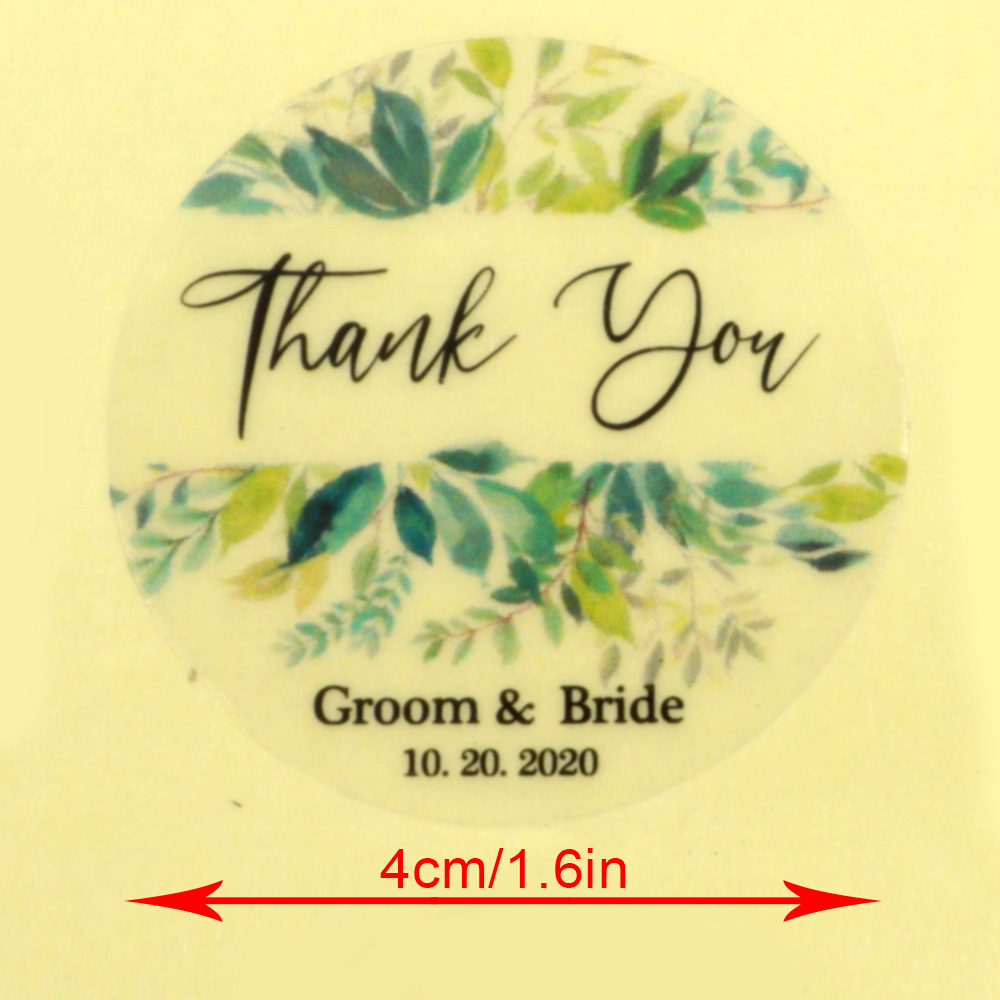 96Pcs 4cm Transparent Wedding Sticker Round Personalized Name Words Label Custom Candy Favors Adhesive Tag Invitation Seals
