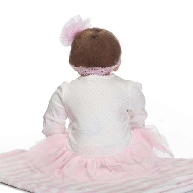 Newborn Sweet Face Lifelike Bebe Doll Reborn Baby Hand Rooted Hair 3