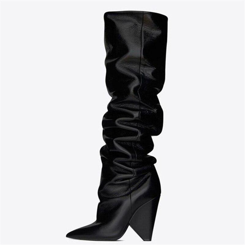 Estilo marca de moda botas altas por encima de la rodilla Sexy de microfibra de cuero caliente de noche Club de baile botas de baile - 6
