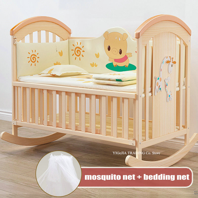 Natural Pine Wood Rocking Cradle With Mosquito Net, Multifunctional Baby Bed, 104*60*95cm, Can Joint With Adult Bed