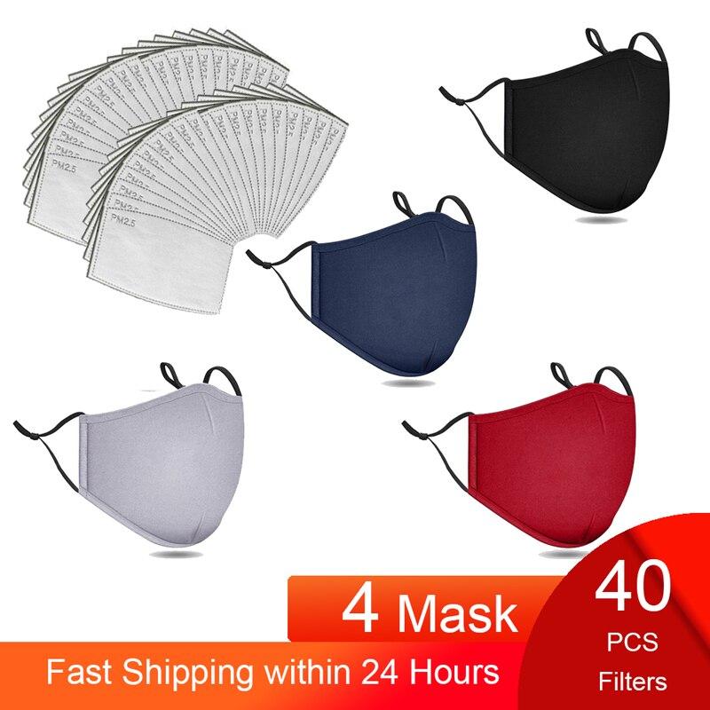 Mascarilla de algodón PM2.5 para hombre y mujer, máscara respirador lavable y reutilizable, anticontaminación, con filtros, color negro, 40 Uds.