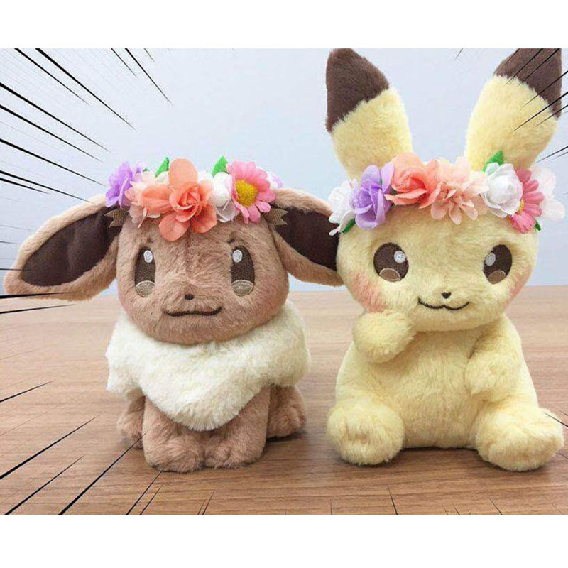 NEW Authentic Japan Anime Pika & Eievui's Easter Eevee Plush Doll Pokemones Stuffed Toy Plush Doll Gifts Kids Toy