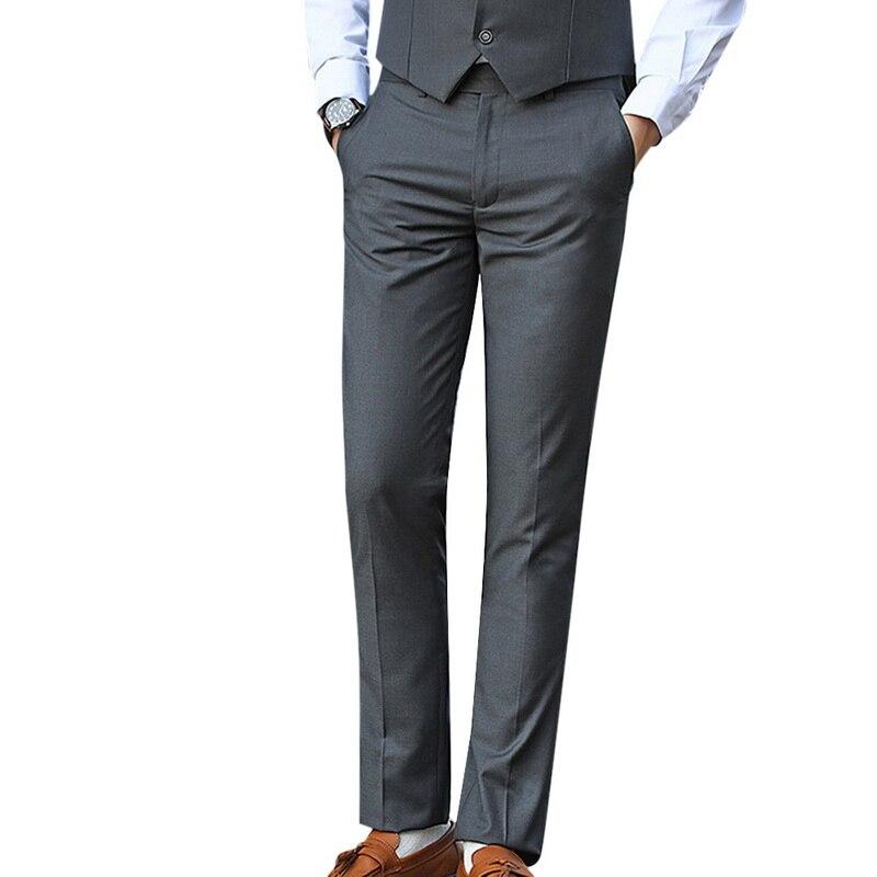 Men's Suit Pant Fashion Business Casual Long Pants Suit Pants Male Straight Formal Trousers Plus Big Size Classic Trousers Male