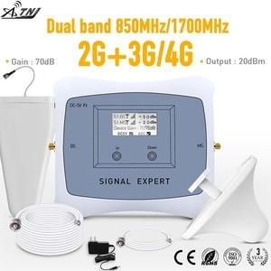 Image 1 - 전체 스마트 듀얼 밴드 2g 3g 4g 모바일 신호 부스터 850/1700MHz 휴대 전화 signgal 리피터 앰프 LCD 디스플레이 키트