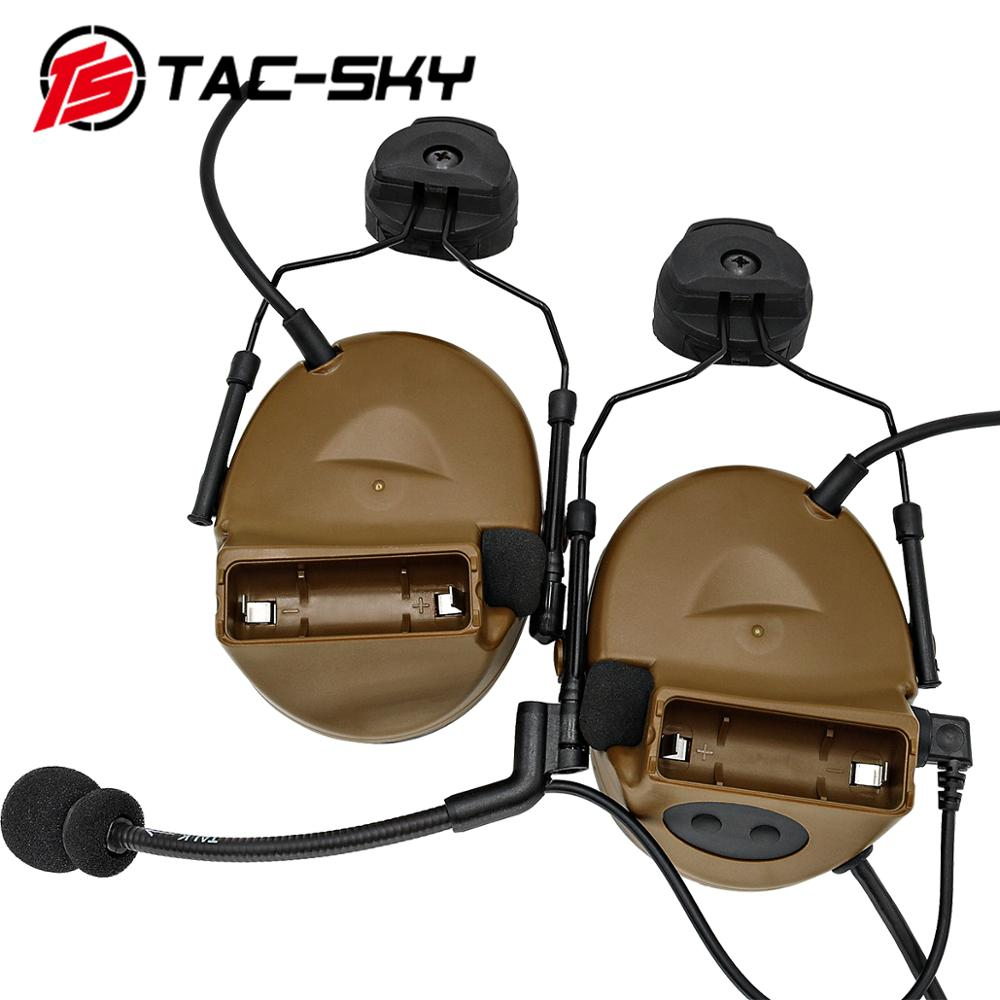 TAC-SKY COMTAC Helmet Bracket Silicone Earmuffs Outdoor Hunting Sports Noise Reduction Pickup Military Tactical Headset C2CB
