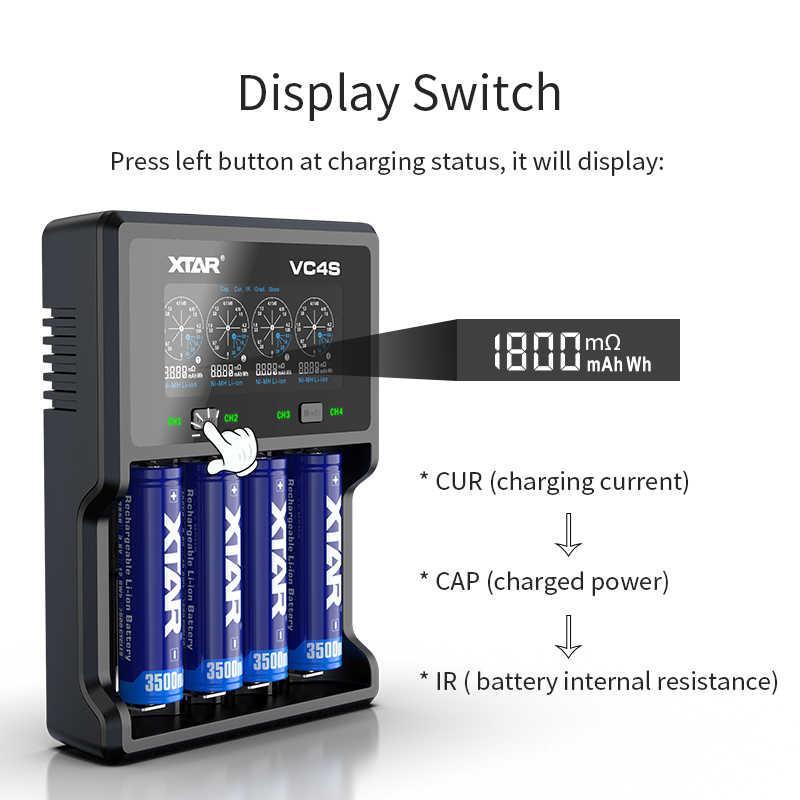 XTAR 4Bay Batterij Oplader VC4S QC3.0 Snel Opladen MAX 3A/VC4 LCD USB Charger 1A/3.6 V 3.7V 1.2V AAA AA 18650 Batterij Oplader