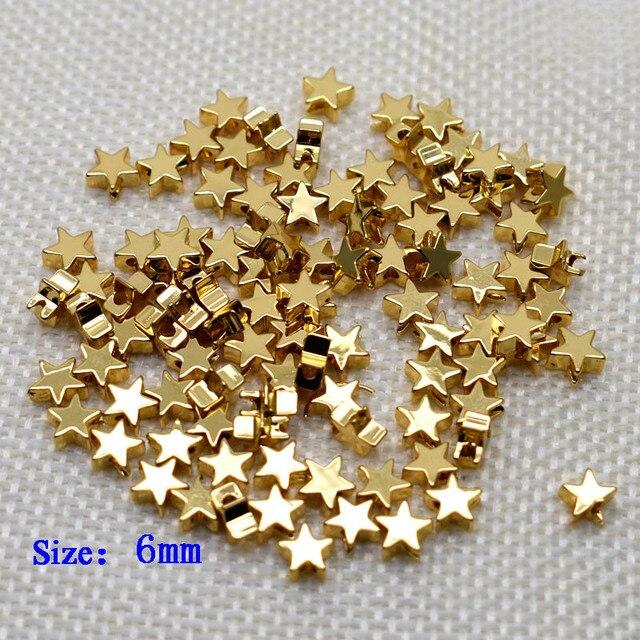 6mm Pentagram heart cross Butterfly shape Beads Metal Copper beads Gold Loose beads for Jewelry Making DIY Bracelet hole 1.7mm 6
