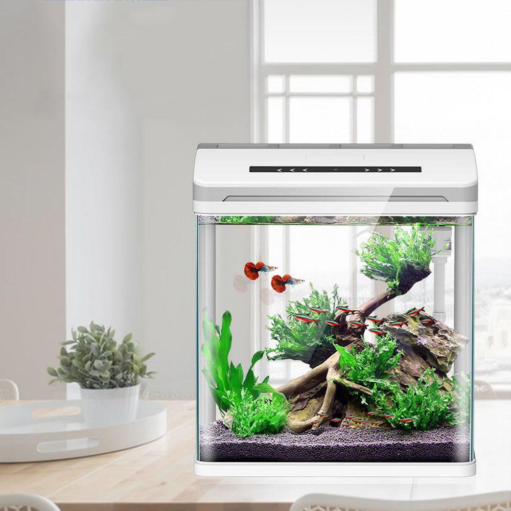 Mini inteligente acuario Betta peces acuario creativo perezoso escritorio pecera hogar auto circulación de vidrio trae caja de alimentación sin agua