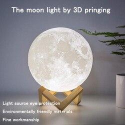 Светодиодный ночник с 3D рисунком Луны, приглушаемый светильник с сенсорным управлением, прикроватный столик с USB, настольная лампа для дома,...