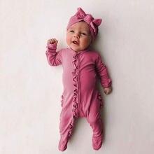 Mono de algodón liso con volantes para bebés y niñas, pelele bonito para primavera y otoño