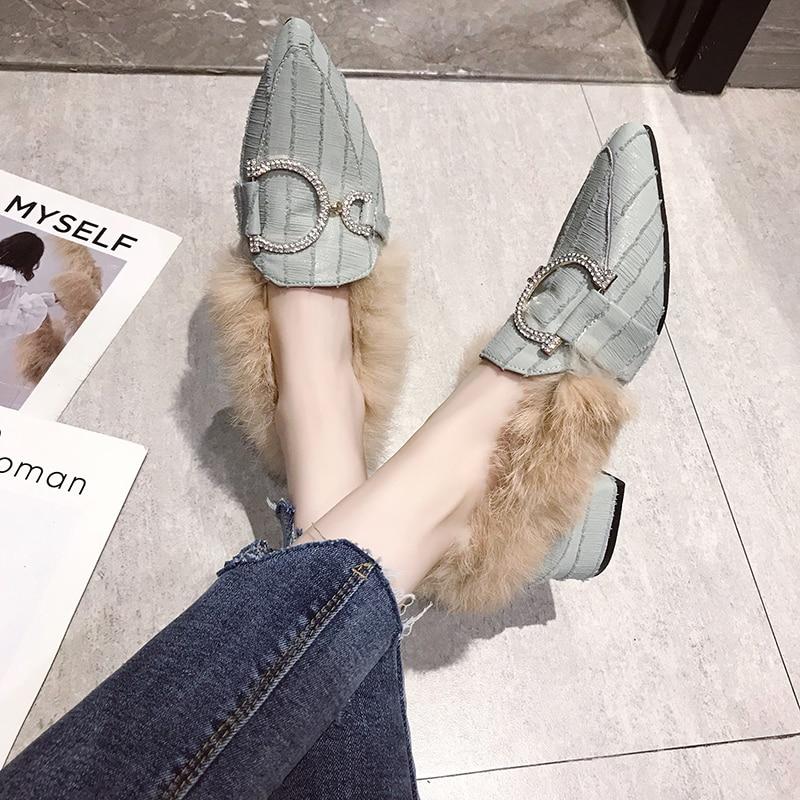 Women Plush Flats Warm Shoes Winter Plus Fur Woman Snow Ankle Boots Slip On Square Toe Comfortable Cotton Shoes Woman 41